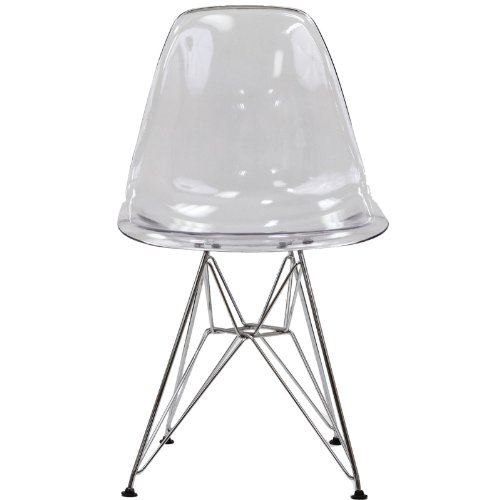 Modway Plastic Side Chair in Clear with Wire Base by Modway (Image #2)