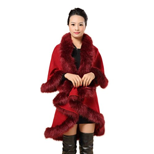 Koly Imitación Collar Poncho estola capa abrigo suéter con capucha abrigo mujeres de vino rojo