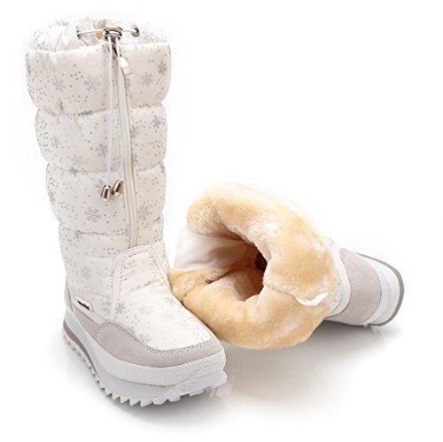 DADAWEN Frauen Winter Fell Futter Cosy Zipper Wasserdichte Schneeschuhe Weiß
