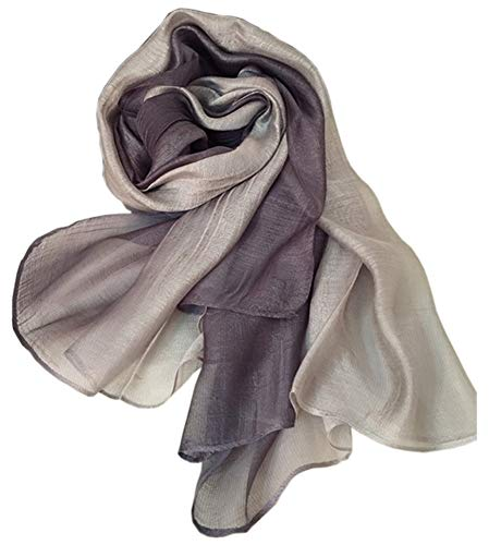 Unilove Summer Silk Scarf Gradient Color Long Lightweight Sunscreen Shawls for Women (Light Gray) ()