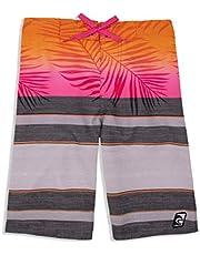 LAGUNA Boys Print Drawstring Boardshorts Swim Trunks, UPF 50+ Sun Protection