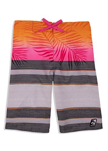 LAGUNA Boys Faded Palm Tropical Boardshorts Swim Trunks, UPF 50+, Grey/Orange, 8 ()