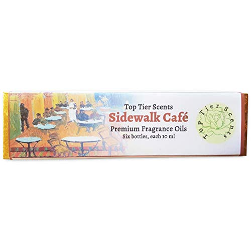 Sidewalk Cafe Gift Set of 6 Premium Fragrance Oils - Pecan Pie, Banana Nutbread, Oatmeal Cookie Dough, Brownie Batter, Rich Cocoa, Arabica Roasted Coffee - Top Tier ()