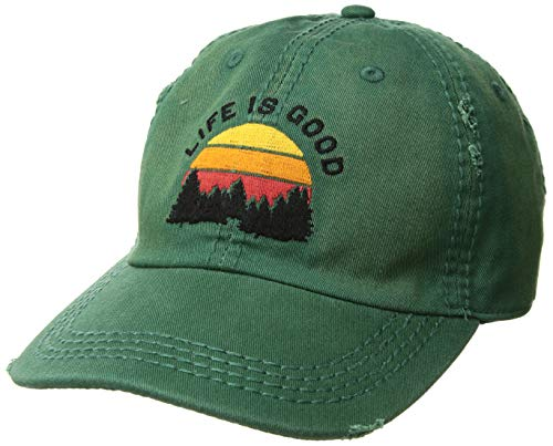 Life is good Unisex Sun washed Chill Cap Baseball Hat, Forest Green, One Size