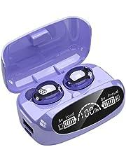 Brusreducerande SANT Trådlösa Hörlurar HiFi Stereo Sport Touch Control Hörlurar Binaural Separation Bluetooth Hörlurar med Mikrofon (Lila)