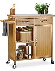 Relaxdays Wózek kuchenny z drewna, bambus, 4 kółka, blat roboczy z marmuru, z szufladami, wys. x szer. x gł.: 85,5 x 89,5 x 36 cm, naturalny