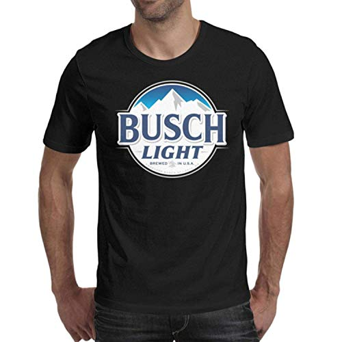 DaWang Adult Round Collar 100% Cotton Tops Man's Busch-Light-Beer-Sign- Shirts