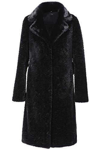 ENJOYFUR Enjoy Fur Women's Black Fauc Karakul Coat With Notched Collar and Belt (XX-Large) (Fur Collar Notched Coat)