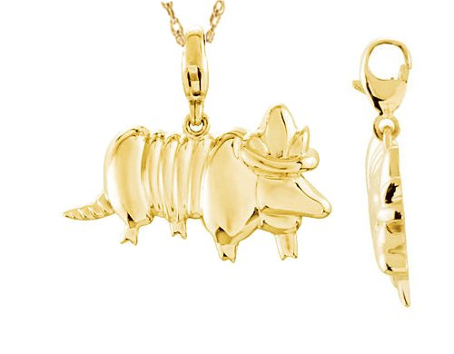 0.925 Sterling Silver or 14k Yellow Gold Charming Animals Armadillo Charm