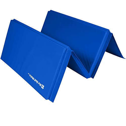 We Sell Mats Gymastics Multi-Sized Portable and Padded Folding Mat for Exercise, Yoga, Martial Arts, Portable with Hook & Loop Fasteners, 4' x 8' (2.0-inch Thick), Blue