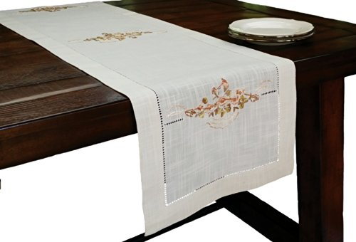 Crewel Stitch - Xia Home Fashions Flowers Crewel Embroidered with Hemstitch Floral Table Runner, 15 by 54-Inch, Linen