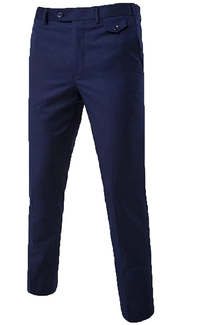 mydeshop Mens Flat-Front Comfort Waist Dacron Long Dress Pant