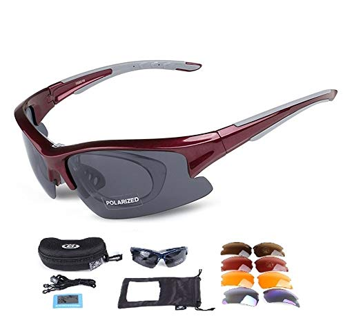 Rungear Polarized Sports Sunglasses with 5 Interchangeable Lenses, Tr90 Unbreakable Glasses for Men Women Cycling Driving Running MTB Racing Ski Goggles (Red)
