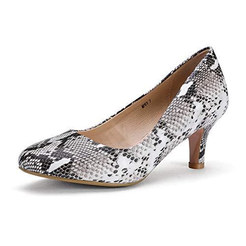 IDIFU Women's RO2 Basic Round Toe Mid Heel Pump Shoes (Snake White, 10 B(M) - Snakeskin Pumps