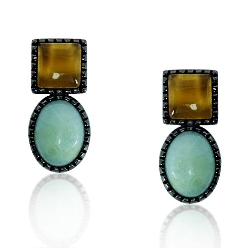 Genuine Smoky Quartz & Amazonite Sterling Silver Earrings For Women   Beautiful & Classic Womens Dangle Ear Rings  Hypoallergenic & Stain-Resistant   Stud Earring Set For Girls   Perfect Gift Idea