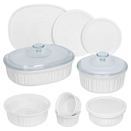 Round With Lid Casserole - CorningWare French White Round and Oval Bakeware Set (12-Piece)