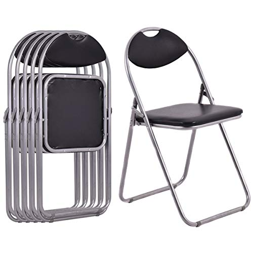 Leather Teak Folding Chair - 6-Piece U-Shape Folding Chairs