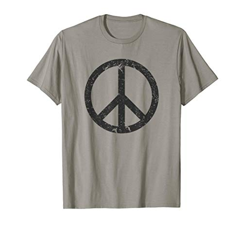 Distressed Black Peace Sign T-shirt (Distressed Peace Sign)