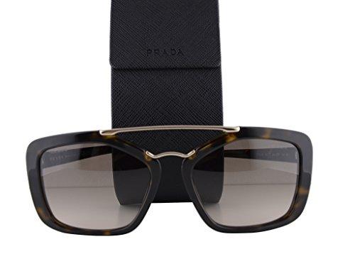 Prada PR24RS Havana w/Light Brown Gradient Light Grey Lens - Women's Plastic Sunglasses Oversized Prada Frame