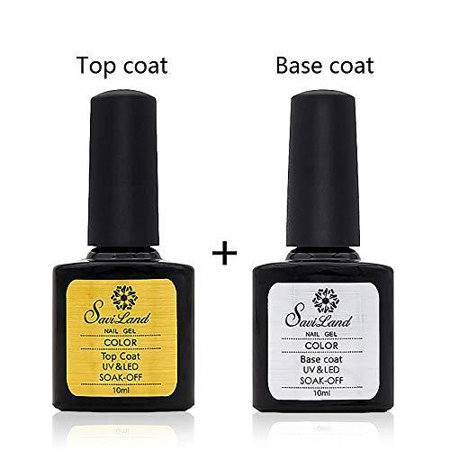Base and No Wipe Top Coat Sets, Savialnd Soak Off UV LED Gel Nail Polish Manicure Pedicure DIY Nail Art Tool Set 10ml
