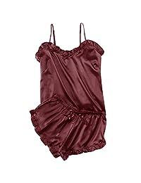 EINCcm Women Pajama Sets Sleeveless Strap Nightwear Sleepwear Set Top Shorts Sexy Lingerie Ruffles Cami Nightwear Set