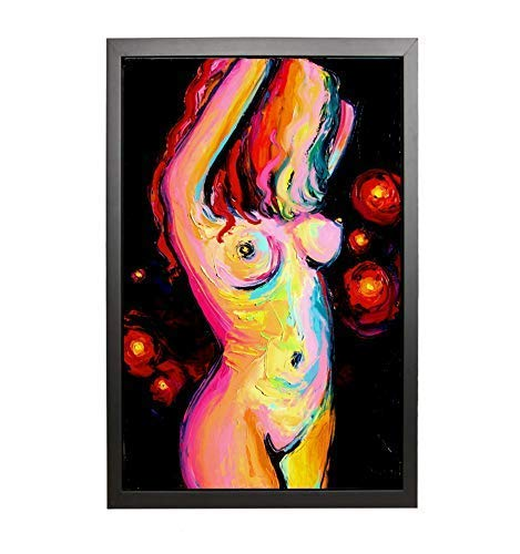 Abstract Female Figure huge 24x36 framed to 26x38 Ready to hang Black Framed CANVAS print Star Light by Aja