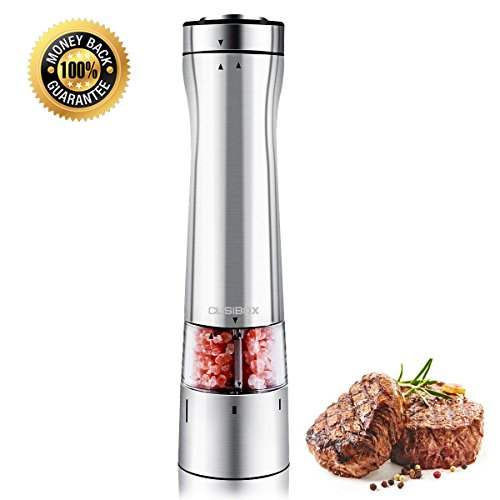 Gravity Electric Pepper Grinder Salt Grinder Mill Ceramic Grinder with Automatic Battery Powered and Adjustable Grind Coarseness (CB-SS001-US) by CUSIBOX