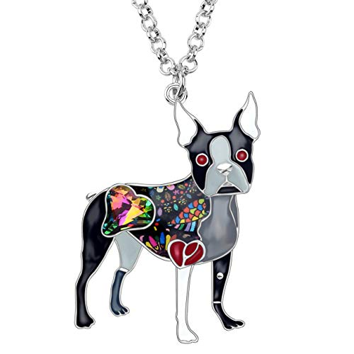 BONSNY Statement Enamel Rhinestone Chain Boston Terrier Dog Necklaces Pendant Original Design for Women Girls Jewelry