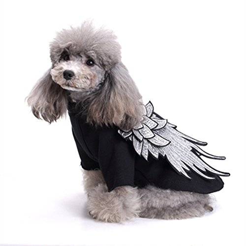 L-Peach Pet Clothes Stylish Dog Apparel with Wing Puppy Skirt Cat Pet Dress Skirt Princess Dress for Small Dogs Black (Princess Peach Dog Costumes)