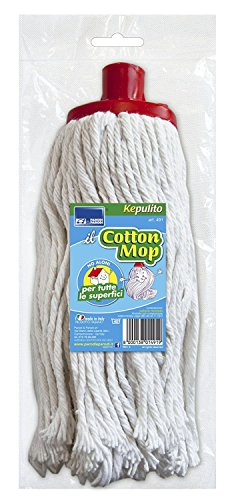Parodi & Parodi Art.491 Mop for Cleaning Floors Universal Suitable for All Surfaces and Adaptable to Any Stick Used, Suitable for Parquet, Tiles, in White Cotton