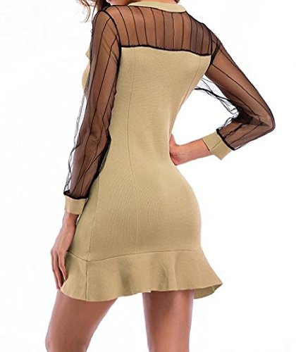 Fitted Apricot Dress Top Slim Women Coolred Sleeve Solid Knit Colored Long vWIUHxw1q8