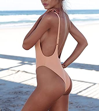 93b7b88481f HAHASOLE Retro One Piece High Cut Backless Monokini High Waisted Low Back  Swimsuit Cheeky Thong Bikini at Amazon Women's Clothing store: