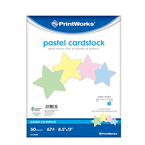 "Printworks Pastel Cardstock, 67 lb, 4 Assorted Pastel Colors, SFI Certified, Perfect for School and Craft Projects, 50 Sheets, 8.5"" x 11"" - Colours Pastel Assorted"
