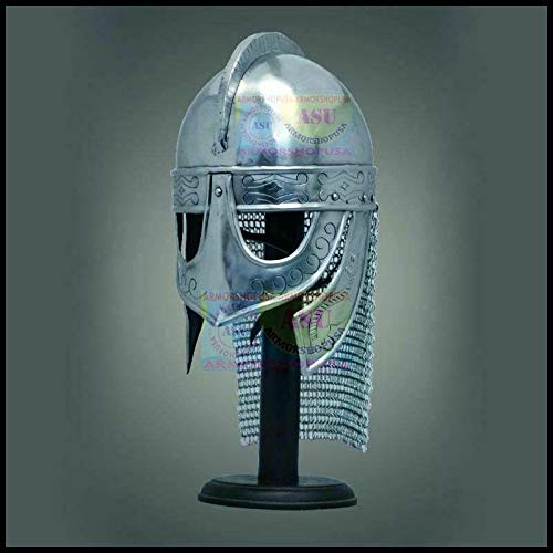 QUALITYMUSICSHOP Viking Helmet with Chainmail Medieval Norman Knight Battle Armor Costume Helmet