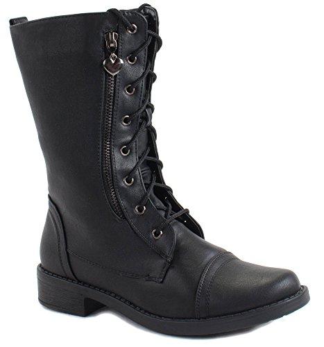 Forever Kvinners Moto-88 Snøring Faux Skinn Ankel Boots Black ...