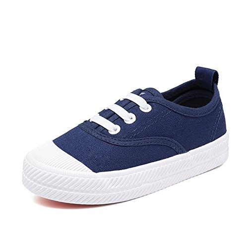 Orlando Johanson New Boys and Girls Sneakers Lace up School Rubber Sole Canvas Shoes(Toddler/Little Kid/Big Kid) Blue2 M US Little Kid - 30 5th Ave Nyc