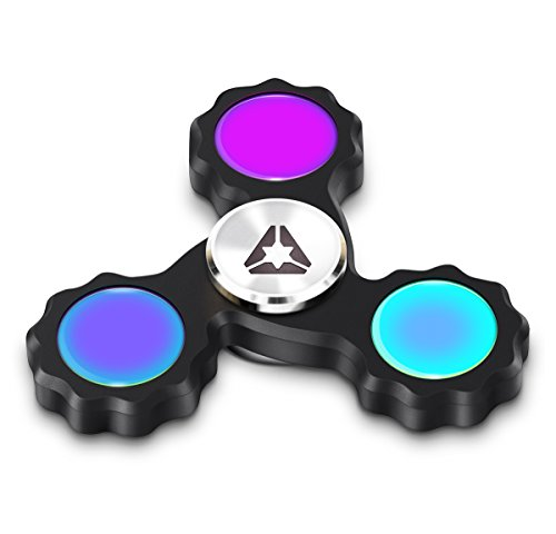 Trispert EDC Fidget Spinner with Supper Fast Bearings, High Quality Black Color Hand Toy, Ultra Durable CNC Machined Aluminium, Ultra Long, Up to 5 minutes Run Time