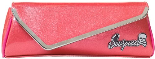 Sourpuss Sparkle Party Clutch Purse in Coral Rockabilly H...
