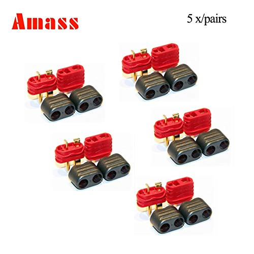 (Part & Accessories 10Pairs/5Pairs/1pairs Amass new slip sheathed T Plug Deans Connector Male Female high current For multi-axis fixed-wing model - (Color: 1 pair))