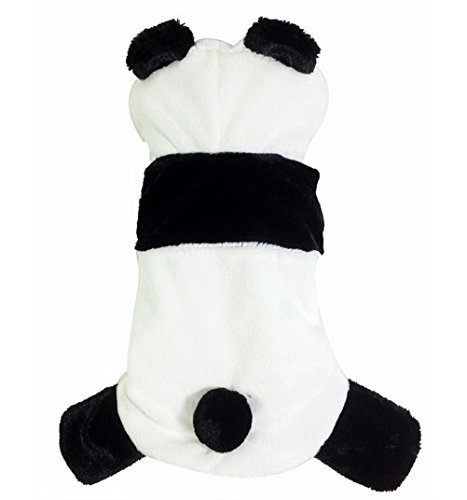 PETLOVE Small Dog Clothes for Winter Panda Costume Pajamas with Feet Fleece Dog Hoodie Costume Black White XL - Panda Costumes For Dog