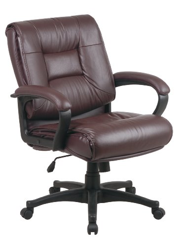 Office Star Top Grain Leather Deluxe Mid Back Executive Chair with Fixed Arms, -