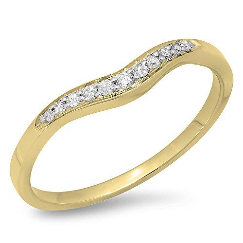 Dazzlingrock Collection 0.11 Carat (ctw) 18K Round White Diamond Wedding Stackable Contour Guard Band, Yellow Gold, Size 7