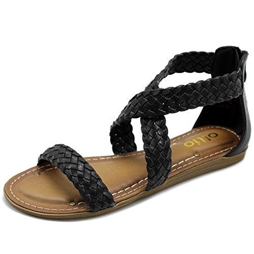 Ollio Womens Shoes Cross Braided Multi Color Flat Sandal M1965 (6 B(M) US, Black)