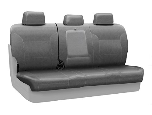 Coverking Custom Fit Center 60/40 Back Seat Cover for Select Acura MDX Models - Premium Leatherette Solid (Medium Gray)