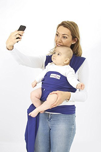 Amma&me Original Baby Wrap Carrier - Soft Stretch Natural Cotton Sling for Babies (Blue)