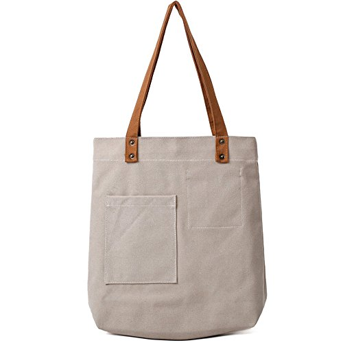 Capacity Environmental Canvas Beige Large Bag Gray Meaeo Shoulder Bag Protection qOwpfI