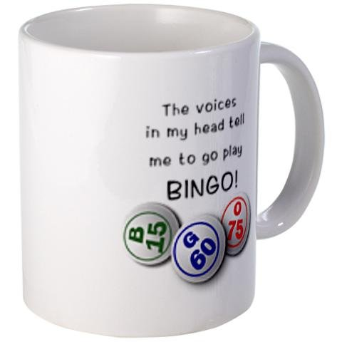 VOICES IN MY HEAD Bingo Fan 11oz Ceramic Coffee Cup Mug by Creative Clam