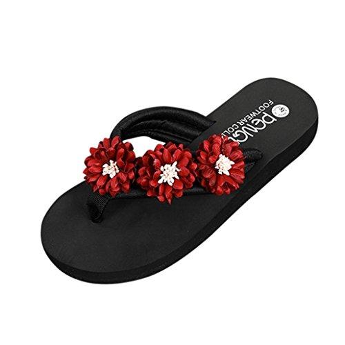 Omiky® Mode Frauen Blume Anti-Skidding Flache Ferse Sandalen Slipper Strandschuhe Rot