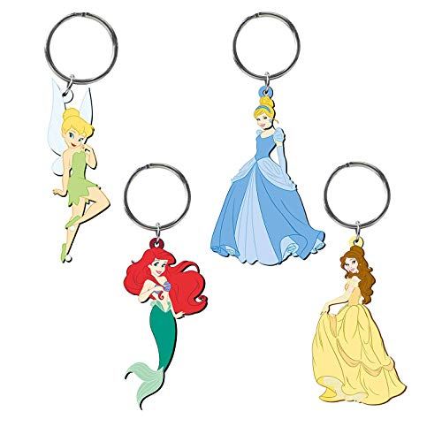 Retail Sales Solutions Disney Classic Princess Cinderella, Belle, Tinker Bell, Ariel 4 Piece Soft Touch PVC Key Ring Gift Set, Medium
