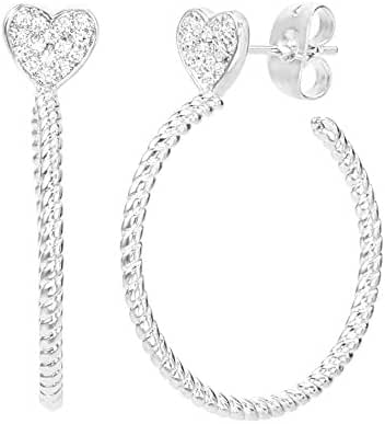 SPECIAL OFFER Cubic Zirconia Charm Hoop Post Earring